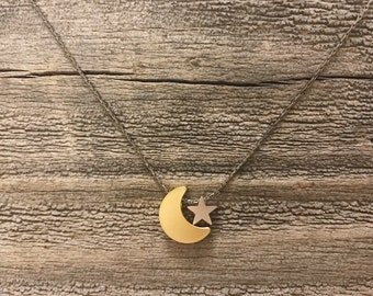 Gold moon necklace silver star necklace