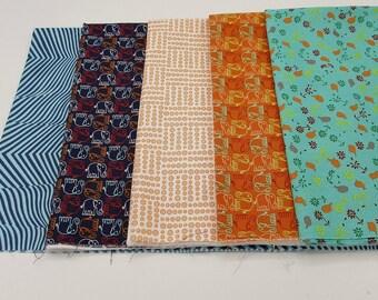Elephant fabric bundle Valorie Wells Free Spirit, 5 prints quilt bundle animals cotton quilt fabric, zebra stripes, novelty prints