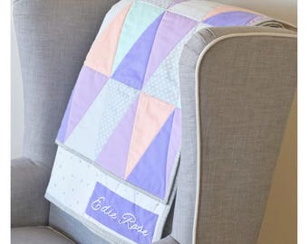 "Modern Baby Quilt - Baby Quilt - Triangle Quilt - Triangle Baby Quilt- The ""Edie"" - purple Baby Quilt - lavender Baby Quilt - Baby Blanket"
