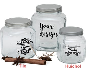 Personalized jar and lid- labeled jar and lid- Custom glass jar- Pantry jars