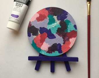 Original Art, Miniature Art, Mini Painting, Abstract Painting, Abstract Art, Teal & Purple Art, Original Painting, Round Art
