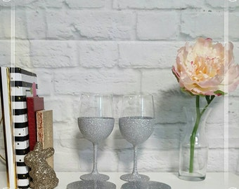 Glitter Wine Glasses Coaster Set Gift Basket// Sparkle Bling// Resin Epoxy  Coasters// Glitter Dipped// Wine Lover// Drink Alcohol// Silver