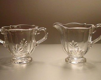 Fostoria Baroque Clear Individual Footed Cream and Sugar Pair, Elegant
