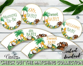 Cupcake Toppers And Wrappers Baby Shower Cupcake Toppers And Wrappers Jungle Baby Shower Cupcake Toppers And Wrappers Baby Shower EJRED