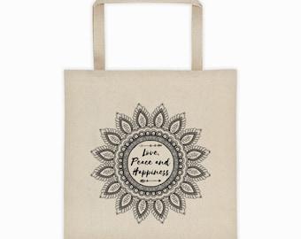 Mandala Tote Bag, Love Tote, Peace Tote, Happiness Tote, Yoga Tote Bag, Beach Tote Bag, Gym Tote Bag