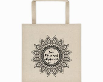 Mandala Tote Bag, Love, Peace and Happiness Bag, Yoga Tote Bag