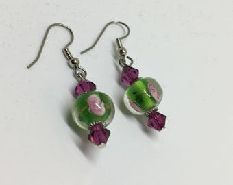 Purple Swarovski Crystal and Czech Flower Bead Earrings