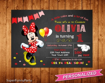 Minnie Mouse Invitation, Any Age Minnie Mouse Birthday Invitation, Minnie Mouse Chalkboard Invitation Printable, Personalized, Digital File