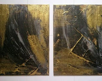 SALE Abstract Acrylic Painting Set of Two Gold Grey Black on Canvas / Textured Abstract Wall Art 10'' x 12'' Set of Paintings