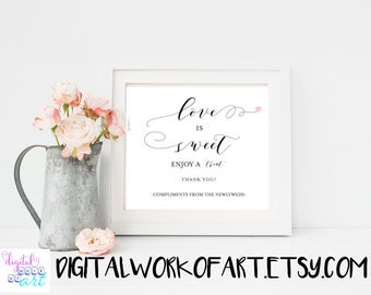 Love is Sweet Take a Treat Sign, Dessert Table Sign,Wedding Refreshment Sign,Reception Sign,Calligraphy,Rustic wedding,wedding decor, #AI-04