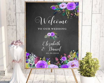 Welcome To Our Wedding, Welcome Wedding Sign, Printable Welcome Sign, Welcome Sign, Custom Welcome Sign,Floral, Boho Chic Wedding,Chalkboard