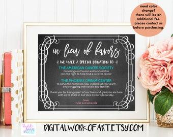 In Lieu of Favors Sign,DIY Chalkboard Rustic Wedding Favors Sign,Reception Sign,Wedding Donations Sign,Instant Download,PDF Editable,#CHMS