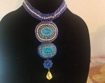 Bead embroidery necklace choker