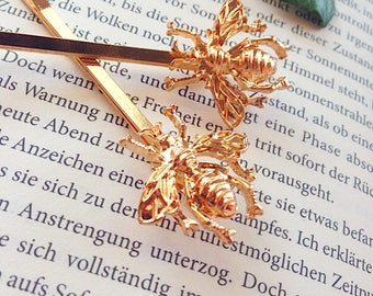"""2 pieces """"Bee"""" gold hairpins, hairclips, hairclips, hair jewelry"""