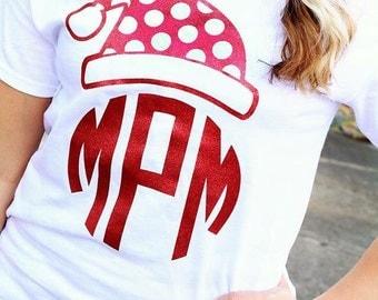 Santa hat monogrammed shirt