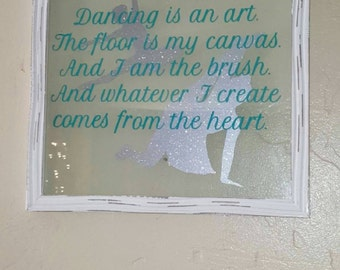 Floating glass frame dancing quote