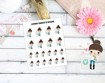 Coffee Girl Character - Planner Stickers