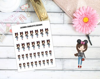 Mouse Ear Girl Character - Planner Stickers
