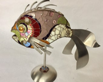 Like a fish in art No. 11 / / sculpture / / present / / fish / / wedding gift / / recycling / / antique