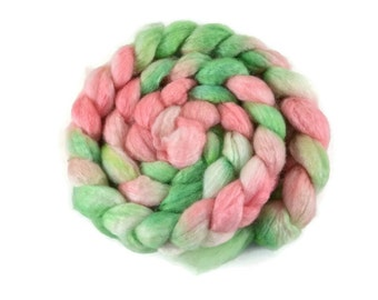 BFL Silk 4 oz hand dyed roving, Combed Top, Blue Faced Leicester spinning fiber, 75/25 BFL/Silk, pink, green, bfl silk roving - Watermelon
