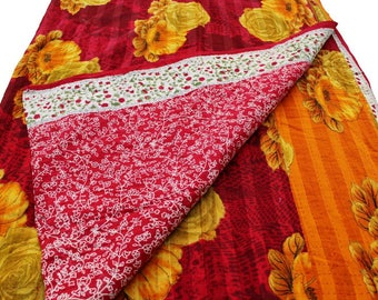 Kantha Quilt - The Indian Bedding Princess/ Vintage BOHEMIAN Picnic Blanket/ BEACH Blanket/ Cotton Wall hanging and Throws