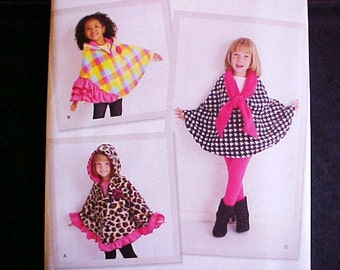Simplicity 1706 A Childs Girls Feece Cape Poncho Unused Small Medium Large