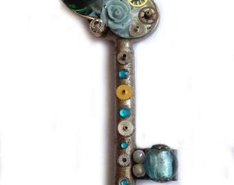 Blue rose - steampunk key - pendant necklace