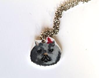 Necklace Persian Cat crazy plastic hand-drawn.