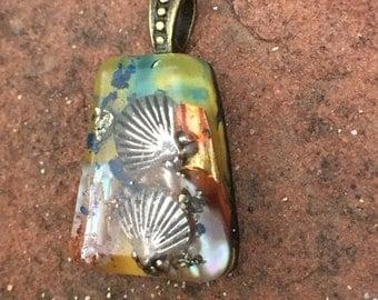 Little Mermaid Story Orgonite® Necklace- Ocean Jewerlry Orgonite® Charm- Magic Orgone Seashell necklace- Mermaid Jewelery