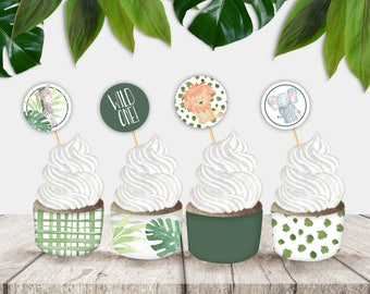 Wild One Printable Jungle Cupcake Wrappers and Circles