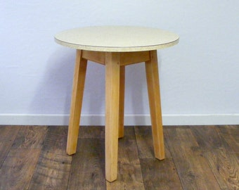 Vintage, Round Formica side Table with mid century wooden legs