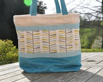 Bag large size cotton bachette and suede tote.