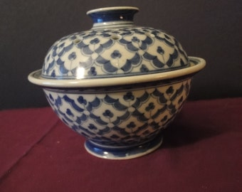 Hand Made from Thailand Incense pot painted in blue & white