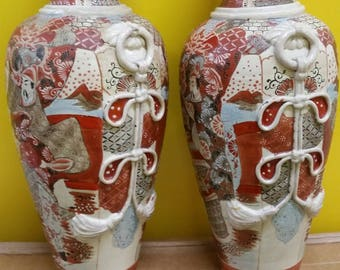 Pair of Japanese SATSUMA VASE  in beautiful design  with height =47cm