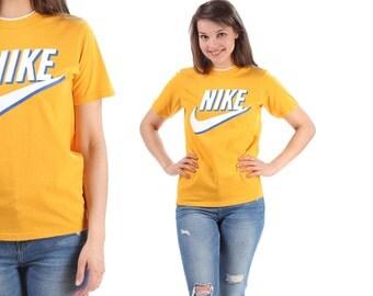 Vintage Nike T Shirt 90s Relax Fit Yellow White Blue Logo Active Wear Outside Activity Sports Shirt  Logo Men Women Unisex Cotton Small