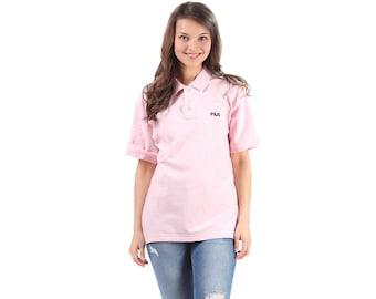 FILA Pink Polo Shirt 90s Top Half Button Up Tshirt 80s Short Sleeve Shirt Vintage Retro Unisex Medium