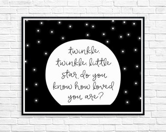 Twinkle Twinkle Little Star, Do You Know How Loved You Are, Nursery Print, Instant Download Printable Wall Art, Moon and Stars Space Nursery