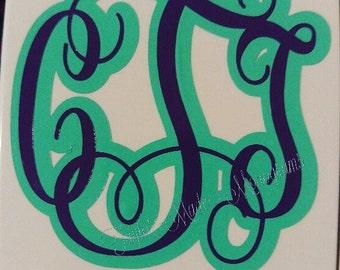 Monogram Decals, 2 Colors, Yeti, Tumbler, Mugs, Windows