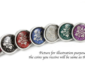 Hand Painted Enamel Coloured Lucky Sixpence Cufflinks choice of year from 1937 to 1970, Choice of 8 color