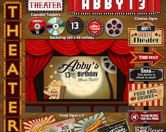 Movie Night Party Decorations Cinema Birthday Printables Home Theater Family Movie Night Package Backyard Theme Kit