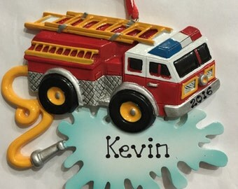 Fire truck, Fire Engine Personalized Christmas Ornament