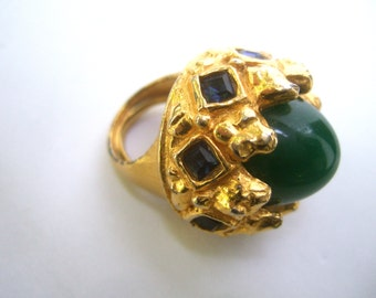 ALEXIS KIRK Rare Jeweled Cabochon Gilt Ring Size 5