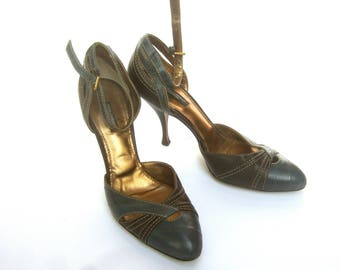 Dolce & Gabbana Italy Gray Leather Ankle Strap Shoes Size 39.5