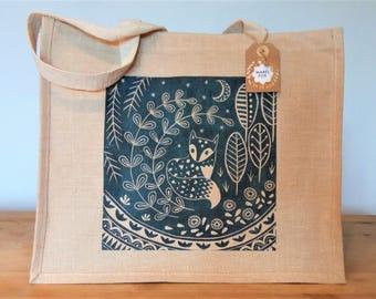 Daniel Fox Jute Bag, linocut print in midnight blue