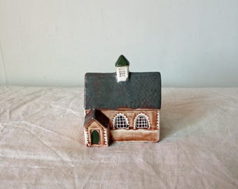 Pottery School House - Miniature Suffolk Cottages Collectible - Mudlen End Pottery House - Old School House Model - Suffolk Pottery Houses