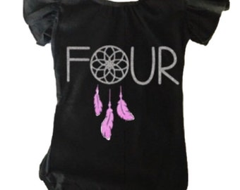 Leotard toddler girls flutter sleeve four personalized dreamcatcher glitter dance gymnastics dancewear gymnast custom