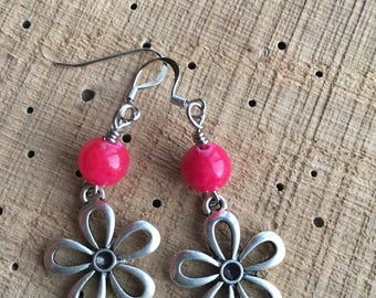 Five Petal Flower Dangle Earrings