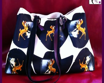 Bag / bag in printed lamb leather. Soft leather.
