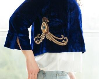 Embroidered velvet blazer blue