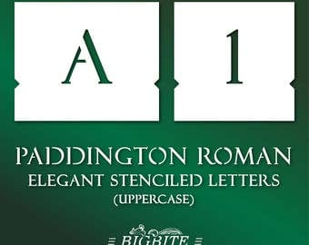 Letter STENCILS:  Font Paddington Roman Uppercase Alphabet Stencil #069